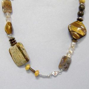 Brown Gemstone Beaded Necklace Jasper Tigers Eye